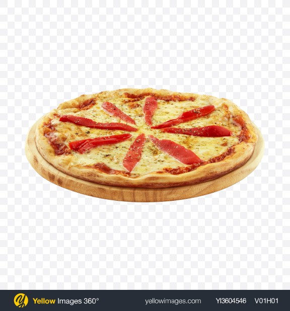 Download Pizza with Red Pepper on Wooden Plate Transparent PNG on YELLOW Images