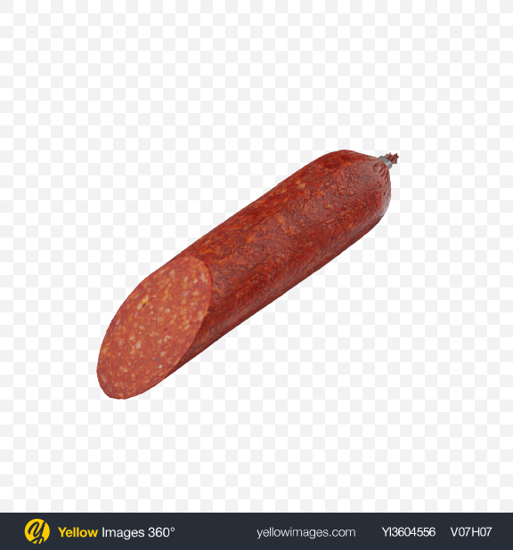 Download Half of Pepperoni Sausage Transparent PNG on Yellow Images 360°