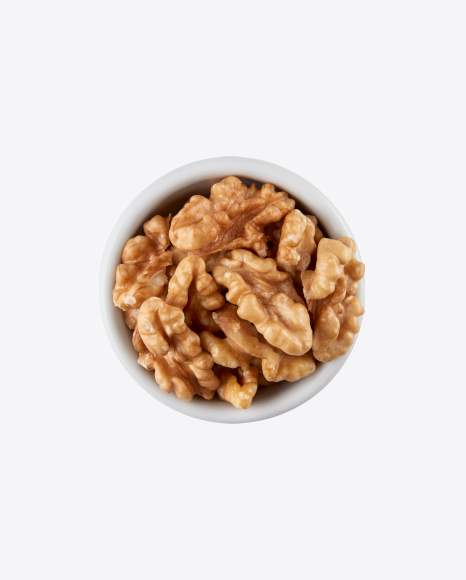 Shelled Walnuts in White Bowl