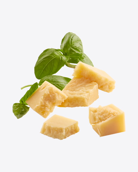 Parmezan Cheese Cubes with Basil Leaves