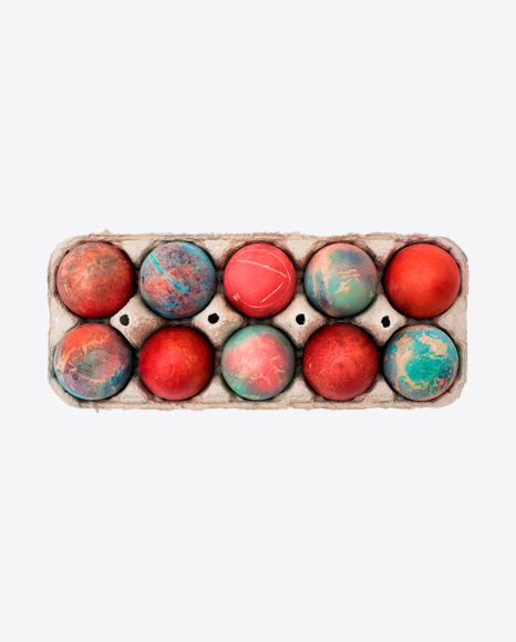 Colored Eggs in Paper Tray