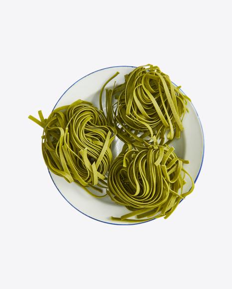 Basil Tagliatelle Pasta on Plate