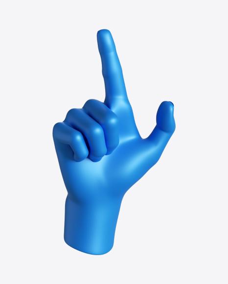 Blue Hand Pointing Finger