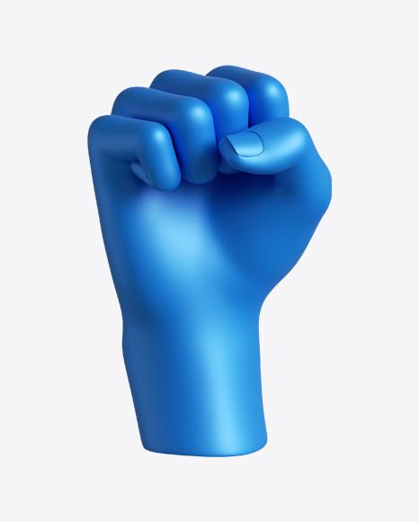 Blue Hand Fist Gesture