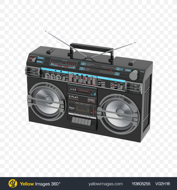 Download Retro Boombox Transparent PNG on Yellow Images 360°