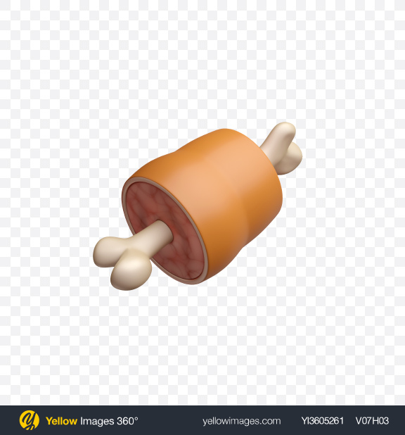 Download Meat on Bone Icon Transparent PNG on Yellow Images 360°