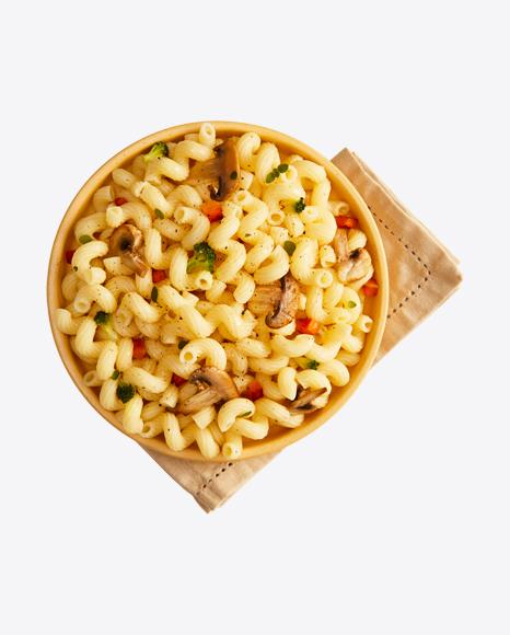 Cavatappi Pasta w/ Mashrooms & Vegetables on Napkin