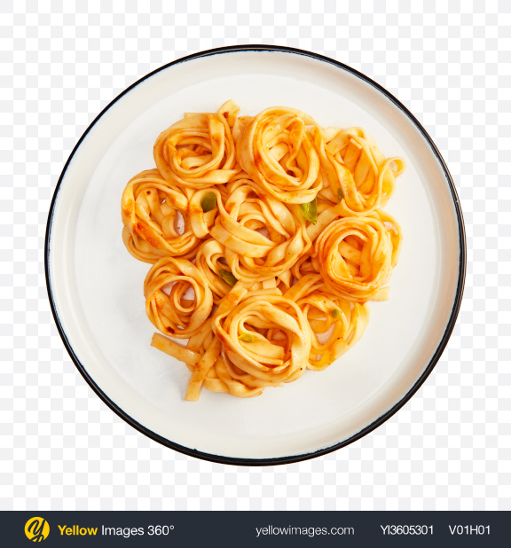 Download Tagliatelle Pasta w/ Tomato Sauce & Basil Transparent PNG on YELLOW Images