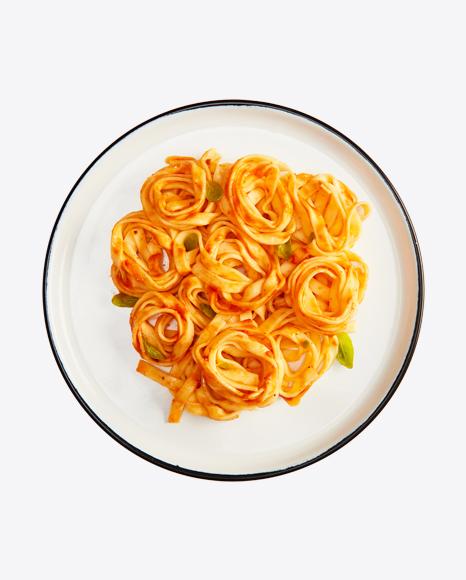 Tagliatelle Pasta w/ Tomato Sauce & Basil
