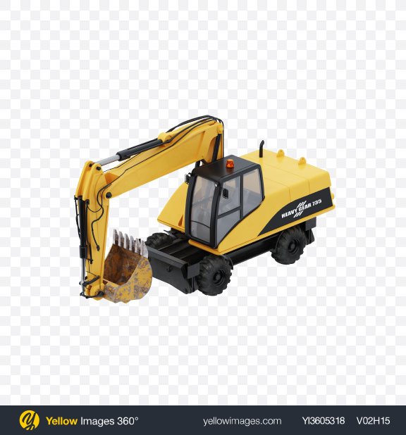 Download Wheel Excavator Transparent PNG on Yellow Images 360°