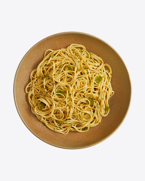Spaghetti Pasta with Greens in Plate