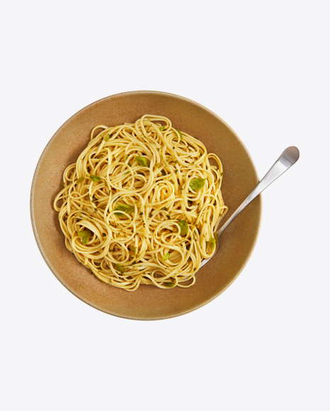Spaghetti Pasta with Greens in Plate w/ Fork