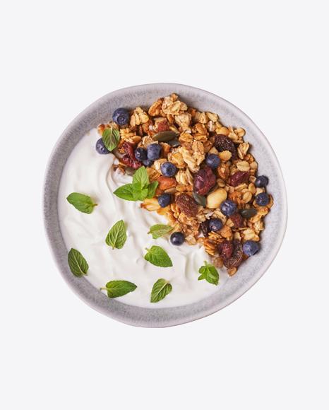 Granola w/ Yoghurt & Blueberries in Bowl