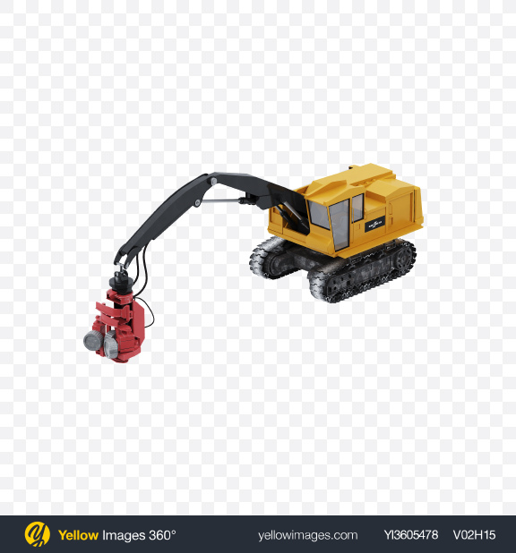 Download Crawler Forestry Harvester Transparent PNG on Yellow Images 360°