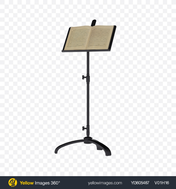 Download Music Stand with Sheet Music Transparent PNG on Yellow Images 360°