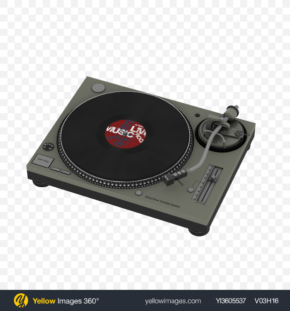 Download Turntable Record Player with Vinyl Record Transparent PNG on YELLOW Images