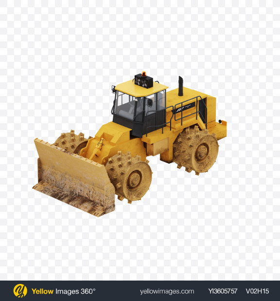 Download Sheepsfoot Compactor Transparent PNG on Yellow Images 360°
