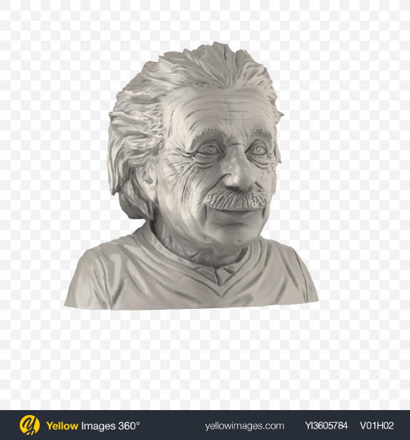 Download Albert Einstein Bust Transparent PNG on Yellow Images 360°