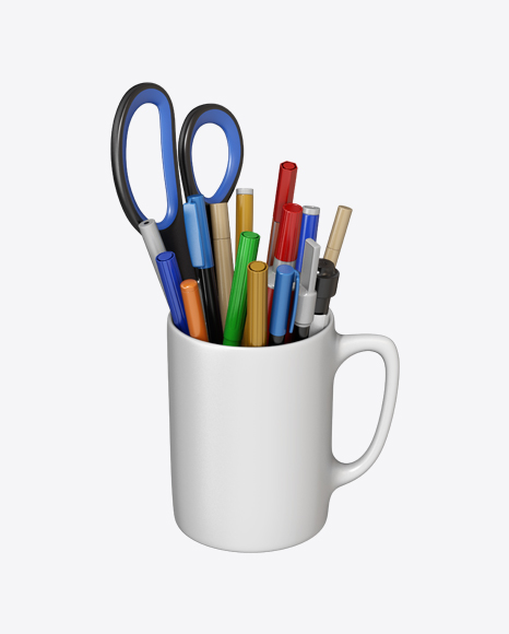 Mug with Markers and Scissor