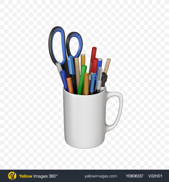 Download Mug with Markers and Scissor Transparent PNG on YELLOW Images