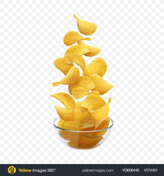 Download Potato Chips & Glass Bowl Transparent PNG on YELLOW Images