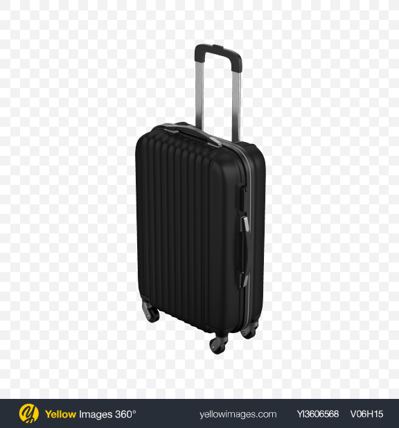 Download Black Rolling Suitcase Transparent PNG on Yellow Images 360°