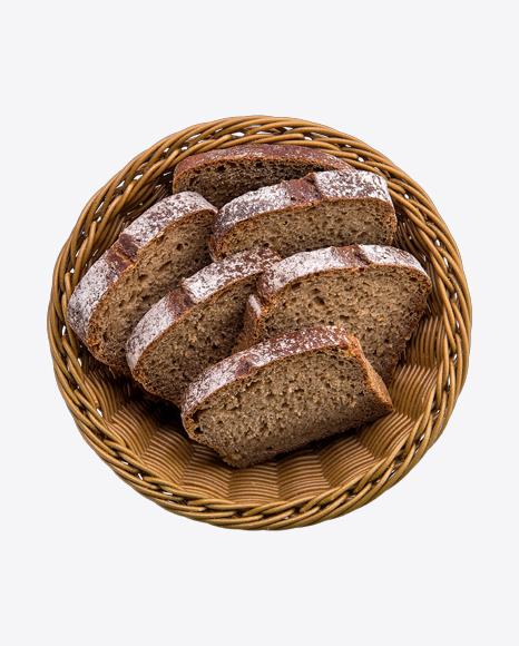 Black Bread Slices in Basket