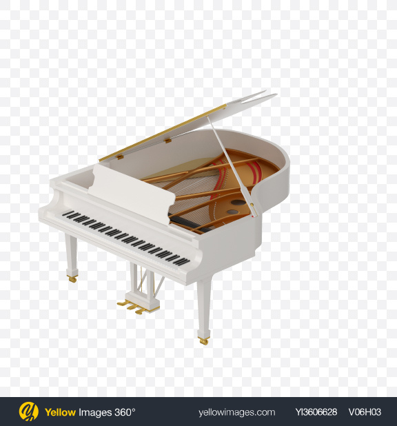 Download White Grand Piano Transparent PNG on Yellow Images 360°