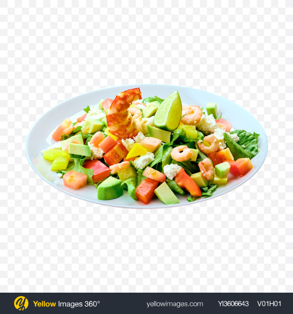 Download Salad w Shrimps, Cheese & Fresh Vegetables Transparent PNG on YELLOW Images