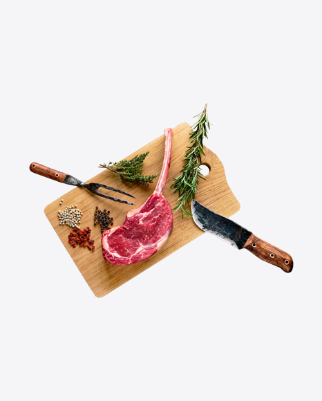 Raw Tomahawk Steak w/ Spices, Fork & Knife on Wooden Board