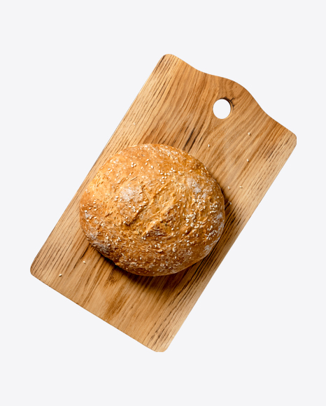 White Bread w/ Seasame Seeds on Wooden Board