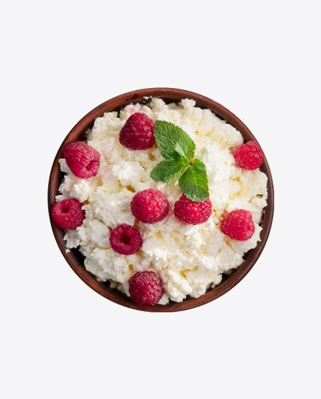 Quark in Wooden Bowl w/ Raspberries