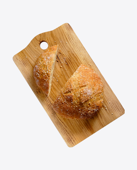 Sliced White Bread w/ Seasame Seeds on Wooden Board