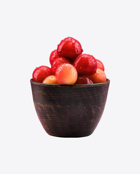 Cherries w/ Water Drops in Wooden Bowl