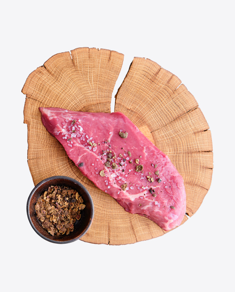 Row Red Meat Slice with Spices on Wooden Board