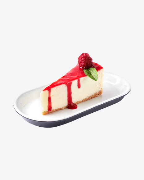 Piece of Raspberry Cheese Cake on Plate