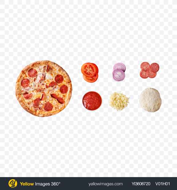 Download Pepperoni Pizza Set Transparent PNG on YELLOW Images