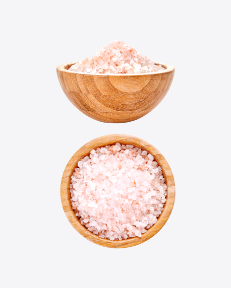 Wooden Bowls with Pink Sea Salt