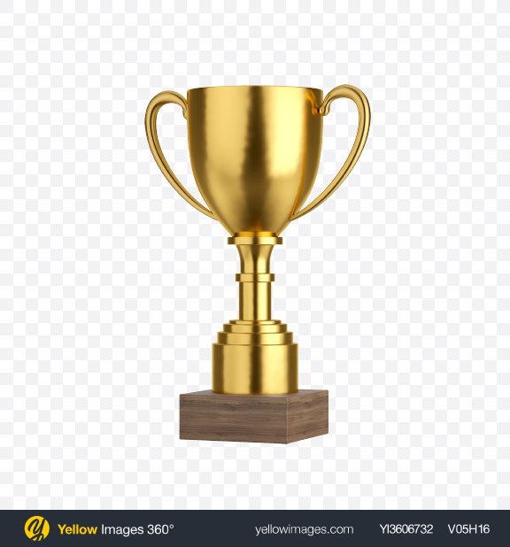 Download Golden Trophy Cup Transparent PNG on Yellow Images 360°