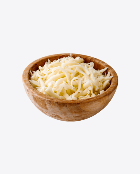 Shredded Cheese in Wooden Bowl