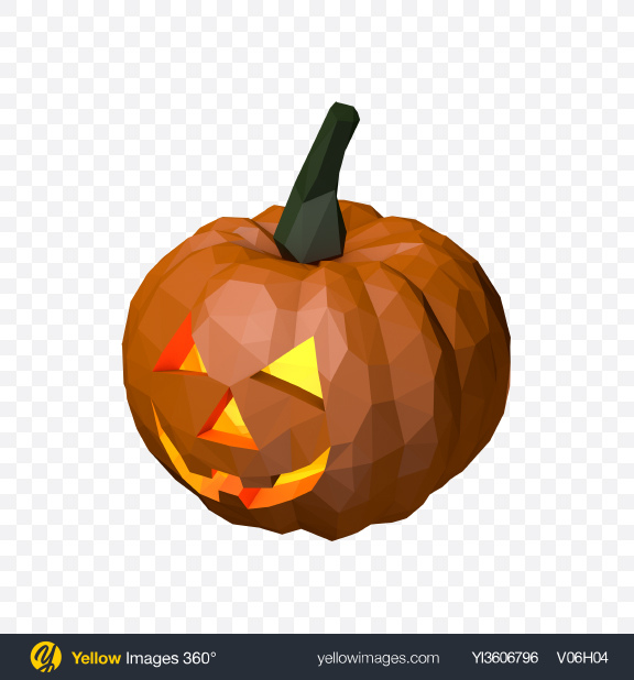 Download Low Poly Halloween Pumpkin Transparent PNG on Yellow Images 360°