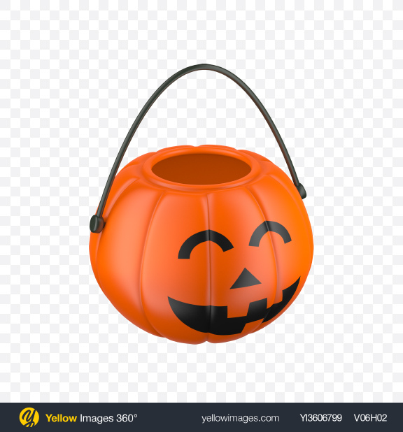 Download Plastic Pumpkin Bucket Transparent PNG on Yellow Images 360°