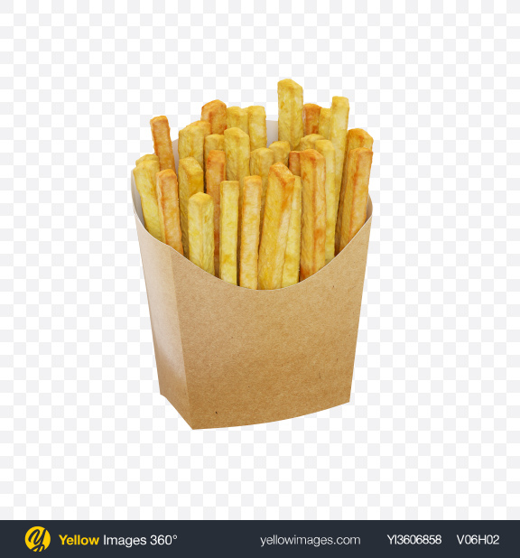 Download Potato Fries In Craft Package Transparent PNG on Yellow Images 360°