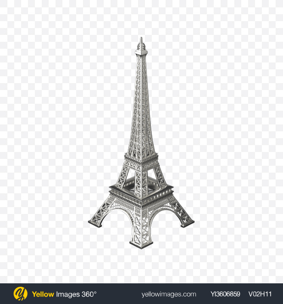 Download Silver Eiffel Tower Figurine Transparent PNG on Yellow Images 360°
