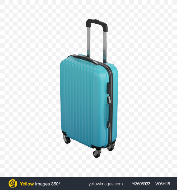 Download Blue Rolling Suitcase Transparent PNG on Yellow Images 360°