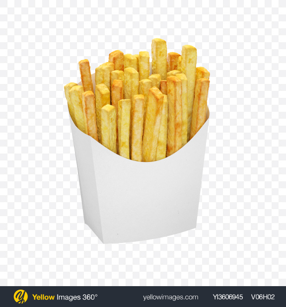 Download Potato Fries In White Package Transparent PNG on Yellow Images 360°