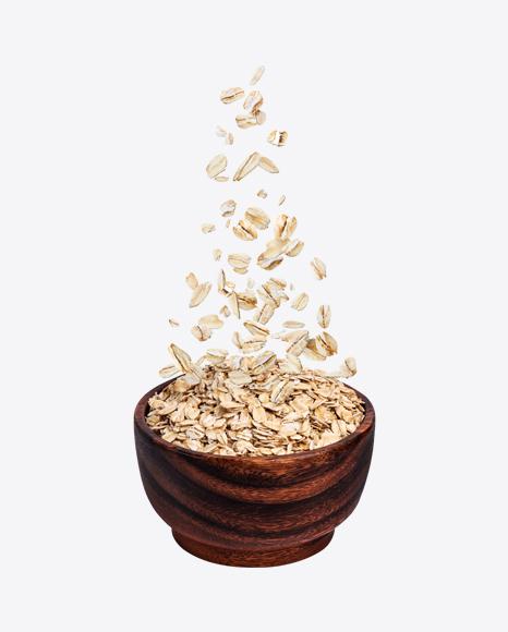 Oat in Wooden Bowl