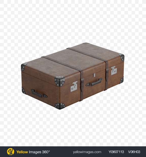 Download Leather Suitcase Transparent PNG on Yellow Images 360°