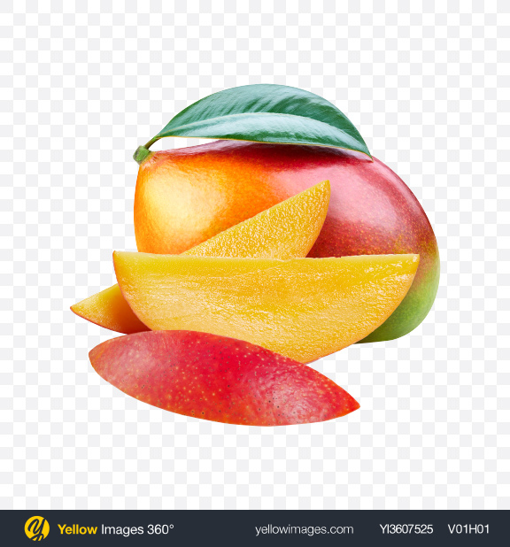 Download Mango w/ Slices Transparent PNG on YELLOW Images