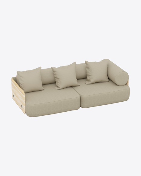 Fabric Sofa with Wooden Armrests